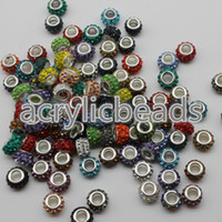 Wholesale Acrylic Plastic Pony Beads - 2017 New Cute Charms Pave Crystal Rhinestone Polymer Clay Pony Rondelle Beads 5mm Large Hole 30 50 100pcs Lot