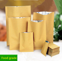 Wholesale Aluminum Hot Coffee - Kraft Paper Pack Bags Inner Aluminum Plating  Thicken Yellow Color Kraft Pouches Top Open  Hot Heat Seal Pack Foods,Tea,Coffee Bag