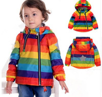 NEW Rainbow Kids Jacket Spring Autumn Windbreaker Kid Coat Girl boy Одежда Windcoat Polar Fleece внутри 1-7 лет