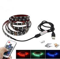 Wholesale Smd 2m - 5V USB LED Strip 5050 RGB TV Background Lighting 60LEDs m with 17Key RF Controller 50cm   1m   2m Set.