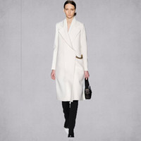 Wholesale style New Fall Winter Women Simple White Woolen Cashmere Long Coat Maxi Female Overcoat Casacos Manteau femme