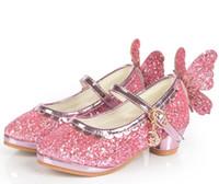 Wholesale Paillette Sandals - 2017 Children Princess Sandals Girls High Heels Dress Shoes Party Paillette Butterfly Rhineston Shoes For Girls Pink Blue Silver B4592