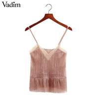 Wholesale Transparent Lace Tank Top - Wholesale- Women sleeveless gold camis tank top lace patchwork elastic transparent shirts ladies summer casual tops blusas WT374