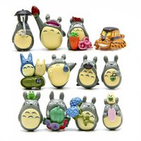 Wholesale Wholesale Yellow Umbrellas - 12pcs PVC Totoro with umbrella action figure toys set 2017 New Japanese anime educational toys for children mind games
