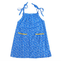 Wholesale Summer Flower Dresses Children Beach - Summer Children Kids Cotton Blue Flower Floral Print Baby Girls Strap Dress Sleeveless Girls Beach Dress Girl Clothing 1-10y