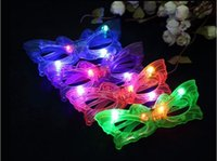 Wholesale Rave Mask Wholesale - Butterfly LED Flashing Glasses Light Up Rave Toys For Halloween Masquerade Mask Dress Up Christmas Party Decoration Supplies