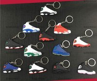 Wholesale Cute Kids Christmas Photos - Mix Cute Silicone basketball shoes Key Chain aj13 Sneaker retro 13 Keychain Kids Key Rings Key Holder for Woman and Girl Christmas Gifts