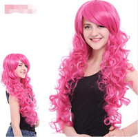 Mulheres Cosplay Perucas Pink Anime Curly Perucas Long Wavy Girl perucas sintéticas 70CM Festive Party