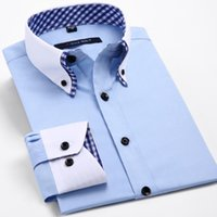 Wholesale Wholesale Plaid Shirts For Men - Wholesale- New Men's Long Sleeve Shirt,Fashion Double Neck Design, Plaid Business Dress Shirt for Men!
