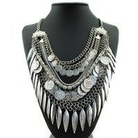 Wholesale Tibetan Chokers - Bohemian Tibetan Silver Coin Statement Necklace Boho Bib Tibetan Beads Leaves Coin Tassels Choker Collar Statement Choker For Women