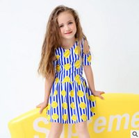 Wholesale One Shoulder Bathing Suits Kids - Girls swimsuit child lemon stripe printed siamese jumpsuits dress swimwear kids dew shoulder princess swimwear kids spa bathing suit T2427