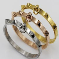 Wholesale Customized Stainless Bracelets - Gold Color Bangle Bracelet Stainless Steel Customize Women Bangles Jewelry new design bangles and bracelet for women