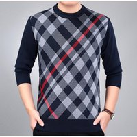 Wholesale Gray Sweaters For Men - 2017 New Men's Sweater Pullover Stripes Casual O Neck Basic Knit Tops for Autumn Winter H02