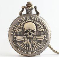 Wholesale Necklace Skull Pocket Watch - 46MM Bronze Mens Gun Skull 2nd AMENDMENT DEFENDING LIBERTY SINCE 1791 Army alloy necklace chain pocket quartz Vintage watches