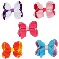 Wholesale Baby Hair Clips Supplies - Baby Girl Grosgrain Ribbon Hair Bow With Clip Kid hair accessories Bows Supplies For Toddler Children