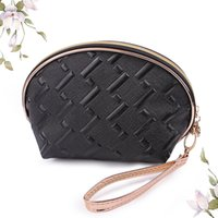 Wholesale Large Cosmetic Travel Clutch - New grid pu cosmetic bag waterproof bags travel makeup bag shell bag Portable large capacity toiletry bags female cute clutch bags XN-C006