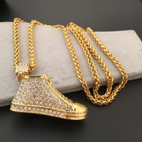 Wholesale Vintage Shoe Plates - Men Necklaces 18K Gold Hip Hop Fine Necklace RAP HIPHOP Hip-Hop Jewelry Full Of Shoes Fashion Costume Jewelry Vintage Choker