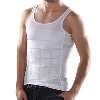 siyah vücut üstleri toptan satış-Toptan-Yeni Moda Erkek Beyaz Siyah Tankı Üstleri Vücut Zayıflama Süper Streç Casual Yelek Seksi erkek Kolsuz İnce Atlet # A42063