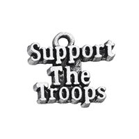 Wholesale Supporting Letter - New Hand-made Antique Silver Plated Support The Troops Letter Charm DIY Jewelry