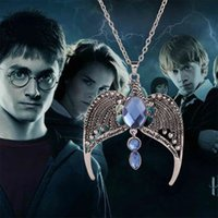 Wholesale Twist Gold Noble - Free Shipping Harry Hogwarts Houses Lost Magic School Retro Noble Crown Necklace Alloy Metal Potter Necklace Wholesale