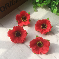 Wholesale Silk Mini Flower Heads - 100pcs lot 4Cm Mini Silk Cherry Blossoms Small Artificial Rose Flowers Heads Poppy Wreath Wedding Decoration For Scrapbooking