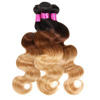 dunkle wurzeln blonde reine haare indisch großhandel-Siyusi Hair Products Malaysisches indisches peruanisches brasilianisches Haar bündelt zwei Ton-dunkle Wurzeln Blonde Ombre-Körper-Wellen-Jungfrau-Menschenhaar