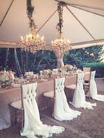beyaz sandalye şapkaları toptan satış-2018 Romantik Düğün Sandalye Sashes Beyaz Fildişi Kutlama Doğum Günü Partisi Olay Chiavari Sandalye Dekor Düğün Sandalye Sashes Yaylar 200 * 65 CM