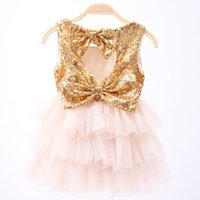 Wholesale Tulle Heart Wholesale - Girls dress 2017 Summer two Bows sequins dress Tutu purple dresses Children Botique clothing Girl heart hollow back party Fashion 2-7year