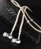 Wholesale Beautiful Chinese Women - Fashion Diamond Pearl Necklace Chain 3.5mm Earphone Earbuds With Mic For Mobile Phone iphone 5 6 6s 7 7plus Woman Unique Beautiful Headphone