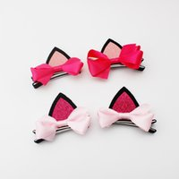 Wholesale Cat Hair Ribbon - One Set 2 Pcs Cut Girls Cat Ear Bow Hair Clips Bowknot Princess Christmas Show Barrette Hairpin Kids Hair Accessories Beautiful HuiLin B100