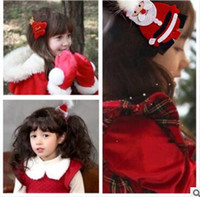 Wholesale Wholesale Christmas Hats China - Classic children's headdress Christmas Santa Claus Christmas tree Christmas hat hair clips four styles four colors
