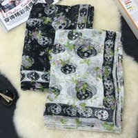 Wholesale Chiffon Big Shawl - 2017 Skull Flowers Print Spring Summer 140*140Cm Big Square Scarf Floral-Print 100% Silk Chiffon Pashmina Shawl Wraps Embroidery For Women