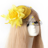 Wholesale cocktail hats china resale online - 3 colors Lady Handmade Netting Flower Fascinator Hair Clip Cocktail Hat bridal Wedding Party Decoration fancy dress accessory pillbox hat