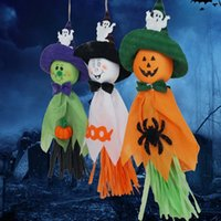Wholesale horror haunted house - Terror Pendant Rope Hanging Type Halloween Props Haunted House Bar Small Smile Ghost Pendants Top Quality 3 5hh B R
