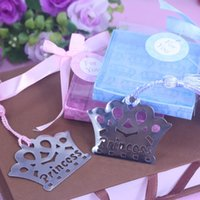 Wholesale Personalized Baby Girl Gifts - Wholesale- 20PCS Prince Princess Crown Bookmarks personalized wedding favors and gifts event party supplies boy girl and baby shower gifts