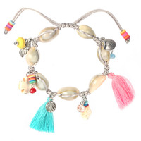 Wholesale Ethnic Crosses - Boho Shell Design Handmade Bracelet Charms Ethnic Cross Cotton Tassel Braclet For Women Girls Fashion Jewelry Accessories