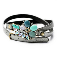 Wholesale Leather Flower Rings - Wholesale-Fashion Trendy Long Pu Leather Bracelet Crystal Vintage Charm Flower Bracelet For Women