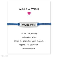 Wholesale Leather Friendship Bracelets For Women - (10 pcs lot)Silver Police Wife Charm Bracelets & Bangles for Women Girls Adjustable Friendship Statement Jewelry with Card