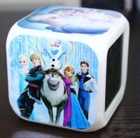 Wholesale Night Glow Clock - Frozen Retail LED 7 Colors Change Digital Alarm Clock 2015 New Anna & Elsa Thermometer Night Colorful Glowing Clock Custom Image BO6972