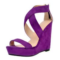 Wholesale Open Toe Jelly Wedges - Purple Wedge Heels Women Sandal Open Toe Platform High Heels New Arrival Adult Jelly Shoes Sandalias Mujer 2016 Fashions Wedge