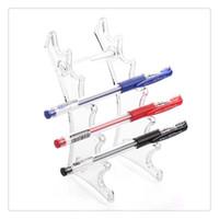 stylo plume livraison gratuite achat en gros de-Bureau stylo étui à crayons sourcil titulaire 1 PC 6 chambres Transparent En Plastique Crayon D'affichage Stand Rack Titulaire Organisateur Livraison Gratuite