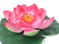 Wholesale Water Lily Silk Flowers - estive Party Supplies Decorative Flowers Wreaths 4 Pieces Artificial PE Foam Lotus flowers Water Lily Floating Pool Plants wedding decora...