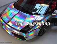 Wholesale Vinyl Graphics Wrap - Holographic Laser Chrome Silver Iridescent Vinyl Wrap Car Film Air Bubble Free graphics wrapping foil Size 1.52x20m roll 5x67ft