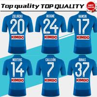 Wholesale Football 14 - Napoli home blue Soccer Jersey 17 18 Naples blue Soccer Shirt 2018 Customized #14 MERTENS #17 HAMSIK #24 INSIGNE football uniform Sales