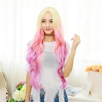 Wholesale Sexy Pink Wigs - X&Y ANGEL- New Two Tones Kanekalon Long Wavy Sexy Stylish Heat Resistant Synthetic Hair Wig 2 Color Mixed Pink red hair mixed color