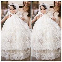 Langes Hülsenbaby Formales Kleid Kaufen -Lace Baby First Communion Kleider Vintage Lace Taufkleider Long Sleeves Elfenbein White Tiered Babies Taufe Party Kleider Kids Formal Wear