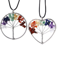 Wholesale High Christmas Tree - High quality Tree of Life Pendant Necklaces Multicolor Chakra Natural Stone jewelry Women Heart Necklace Fashion Crystal Jewelry Gift