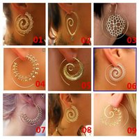 9 Style Women Personality Big Earrings Vintage Tribal Indian Love The Spiral Hoop Earring Ouro Prata Jóias Fake Ear A163