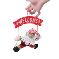 Wholesale Craft Xmas Decorations - Santa Claus Snowman Ornaments Xmas Craft Door Hanging Blackboard Decoration For Holiday Wedding Festival Party Home