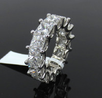 Wholesale Vvs Diamond Engagement Rings - Fine 14.10ct GIA D-F VVS-VS Princess Cut Diamond & Platinum 7.3mm Eternity Band